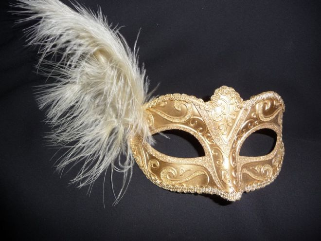 Gold glitter Petite feather Mask